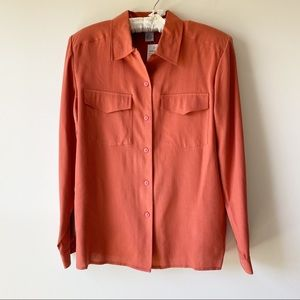 NWT Anna & Frank Silk Button Down Blouse Sz M